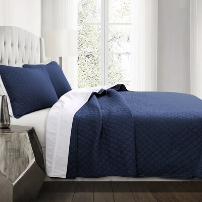 The Twillery Co. Shuler 3 Piece Quilt Set Size: King, Color: Navy
