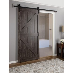 Paneled Manufactured Wood Finish Continental Barn Door With Installation Hardware Kit