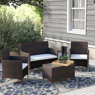 4 Piece Rattan Deep Sofa Seating Group With Cushion