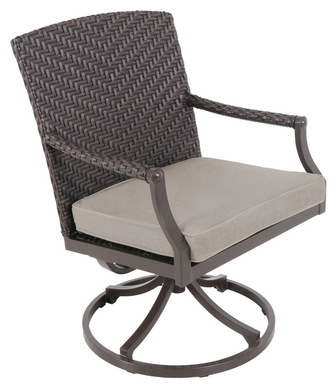 Kanzler Aluminum Outdoor Wicker Swivel Patio Dining Chair With Cushion