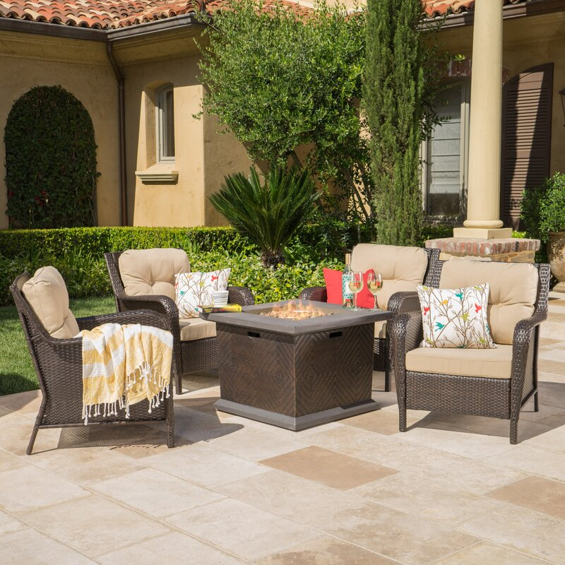 fire pit table with chairs. Bernier 5 Piece Fire Pit Table Set With Chairs .