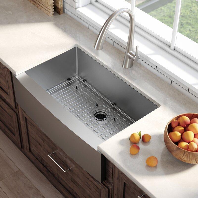 "27 Inch Farmhouse Sink: Kraus 33"" X 21"" Farmhouse Kitchen Sink With Drain Assembly"