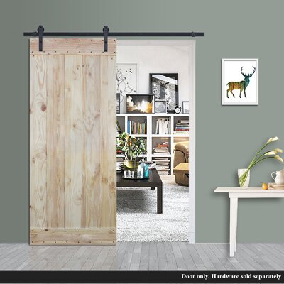 Plank Natural Solid Wood Panelled Pine Slab Interior Barn Door Verona Home DesignVerona
