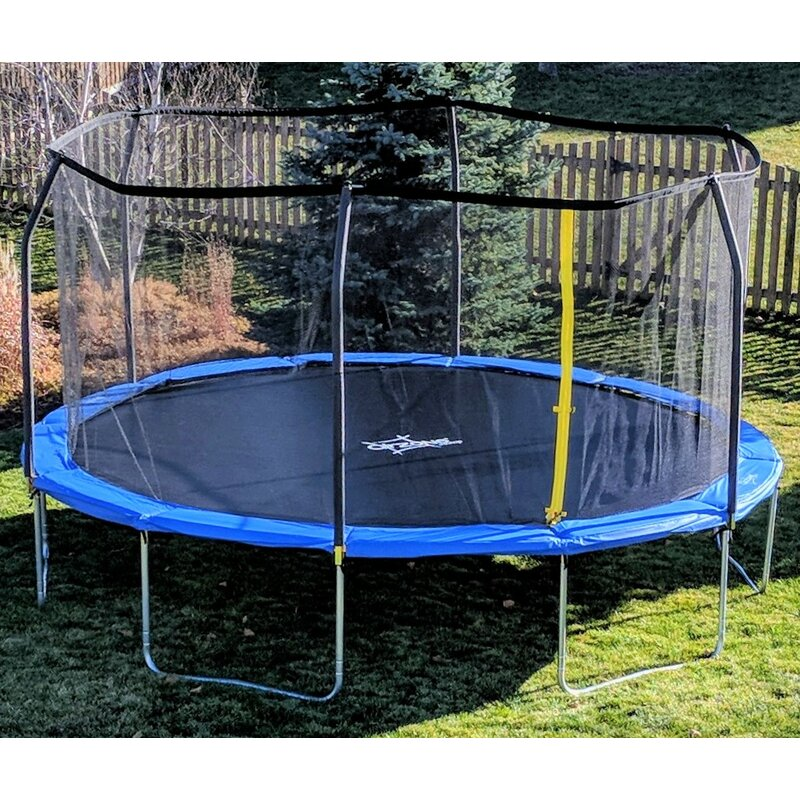 Airzone 14 Spring Trampoline And Enclosure Set: AirZone Play Backyard Jump 12' Round Trampoline With