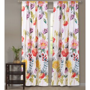 Appenzell Nature/Floral Sheer Rod pocket Curtain Panels (Set of 2)