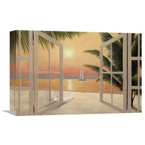 'Beach Windows' by Diane Romanello Painting Print on Wrapped Canvas
