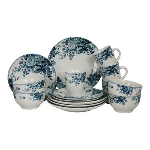 Rose 16 Piece Dinnerware Set, Service for 4