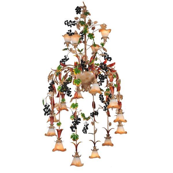 Outdoor Hanging Grape Lights: Meyda Tiffany Symphony Grape 16-Light Shaded Chandelier