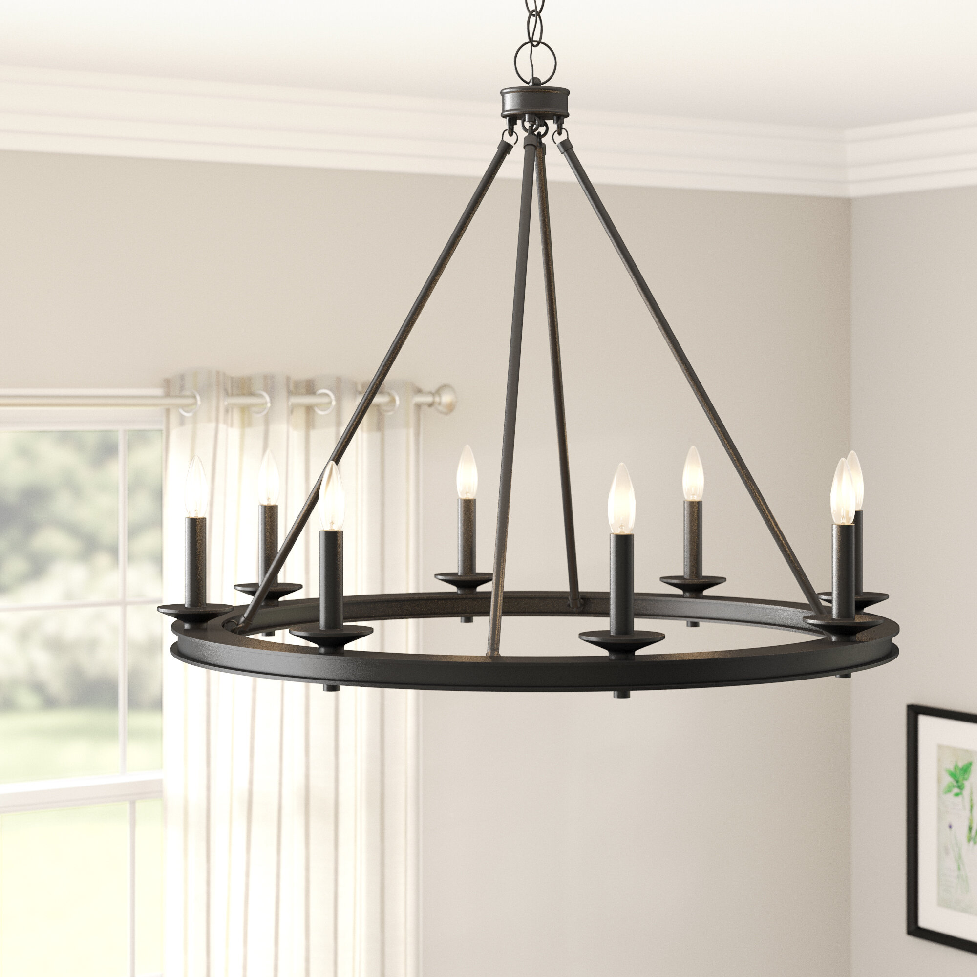 Aramis 8 light wagon wheel chandelier