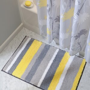 Rain Microfiber Stripes Shower Accent Bath Rug