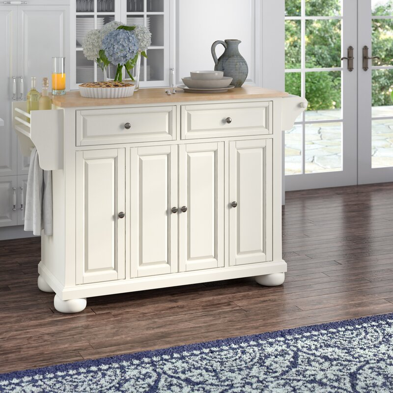 Pottstown Kitchen Island With Wood Top