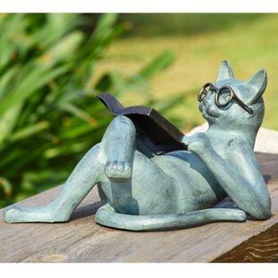 Beau Literary Cat Garden Statue