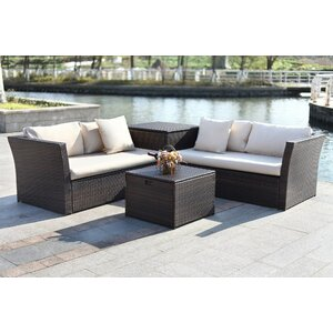 Marguerite 4 Piece Rattan Sofa Set with Cushions