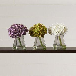 Artificial flower arrangements youll love wayfair hydrangeas in vase set of 3 mightylinksfo Images