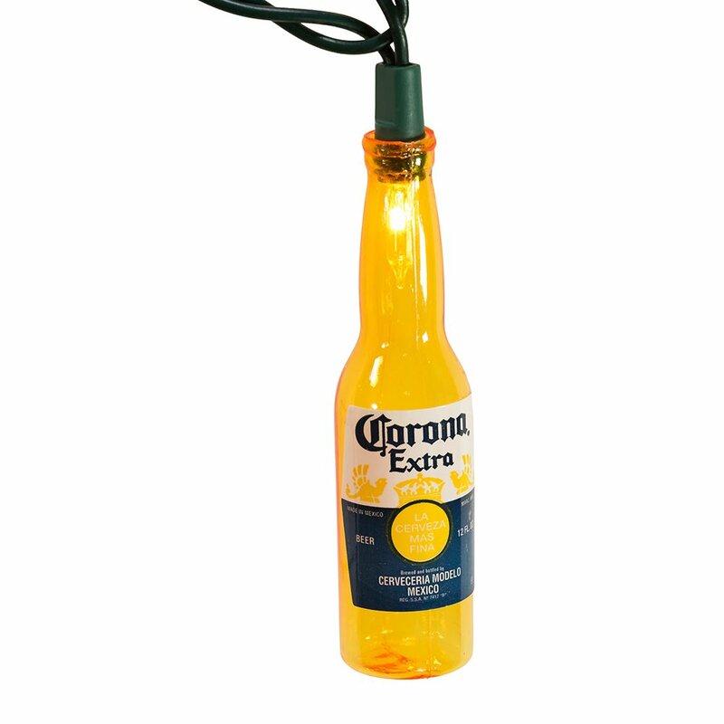 Kurt Adler Corona Beer Bottle Christmas Tree Holiday Light Set 10 Lights
