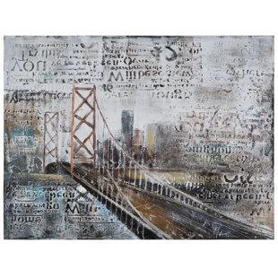 Frameless bridge canvas art wayfair revealed artwork across the bridge graphic art on wrapped canvas malvernweather Gallery
