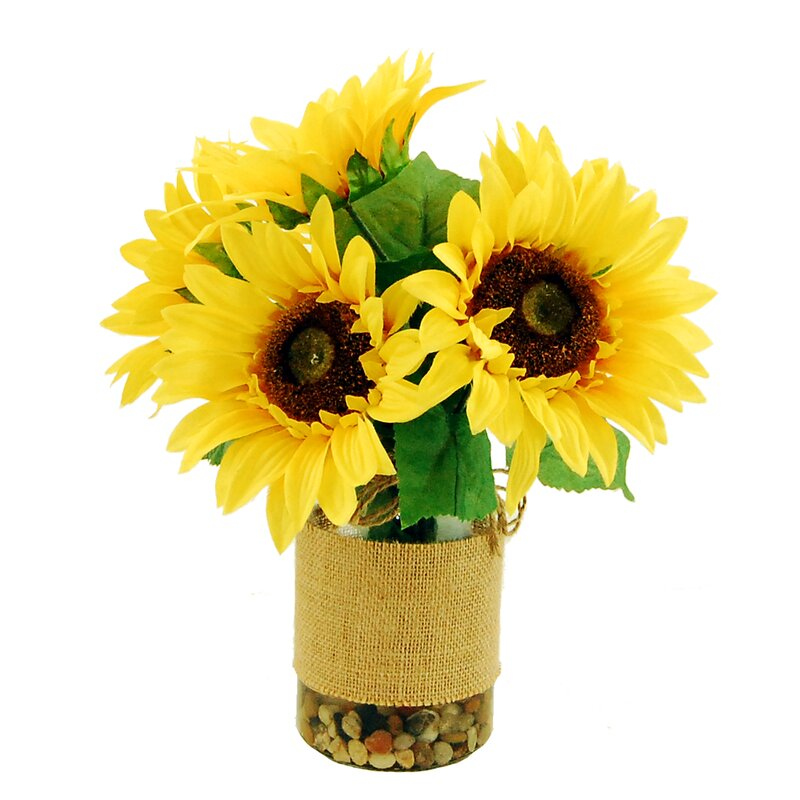 Sunflowers In A Vase With River Rocks And Faux Water Reviews