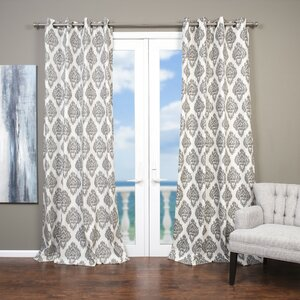 Baroque Ikat; Damask Semi-Sheer Grommet Single Curtain Panel