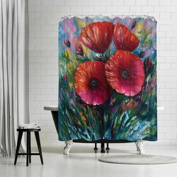 East Urban Home OLena Art Red Poppies Shower Curtain