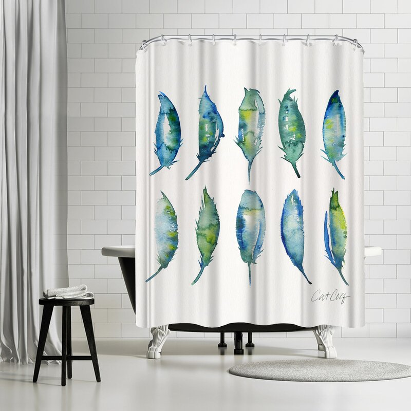 East Urban Home Feathers Shower Curtain