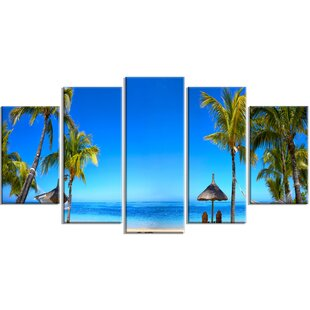 Mauritius Beach With Chairs 5 Piece Wall Art On Wred Canvas Set