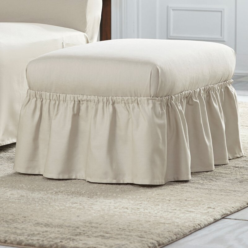 default_name - Serta Cotton Duck Ruffle Ottoman Slipcover & Reviews Wayfair