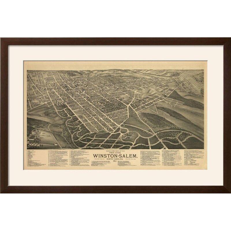 Charlton Home \'Winston-Salem, North Carolina - Panoramic Map\' Framed ...