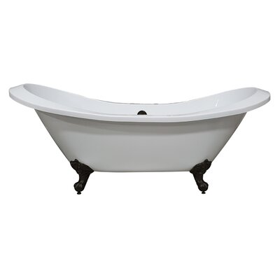 "Acrylic Double Slipper 73"" X 31"" Clawfoot Soaking Bathtub Cambridge Plumbing Feet Finish: Oil Rubbe Bronze"
