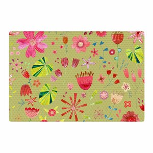 Nic Squirrell Wild Meadow Floral Digital Illustration Olive/Pink/Red Area Rug