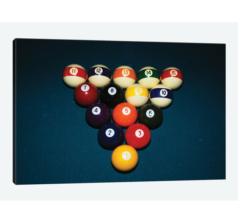 U0027Billiard Balls Racked Up On Pool Tableu0027 Photographic Print On Wrapped  Canvas. U0027