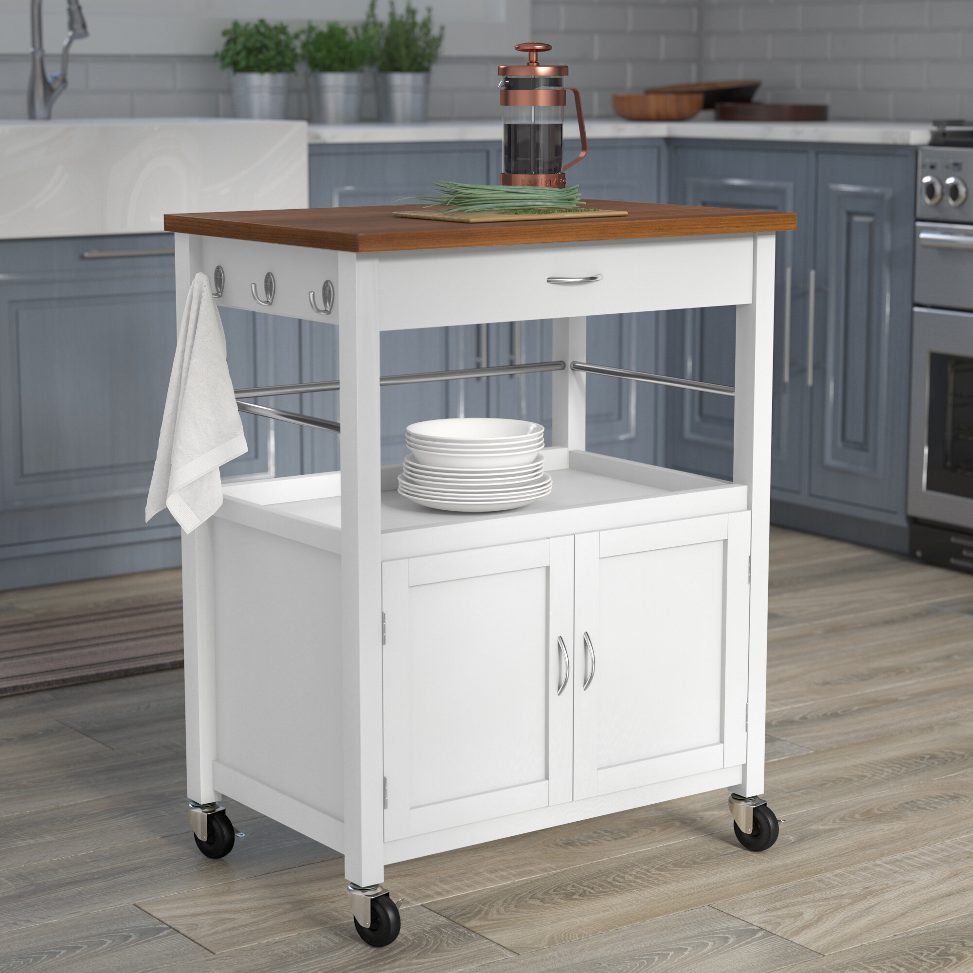 Kibler Kitchen Island Cart with Natural Butcher Block Bamboo Top ...