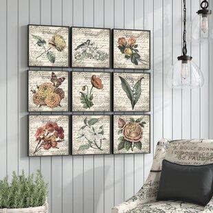 ab2e5d54f64  French Botanical Illustrations  9 Piece Canvas Wall Art Set