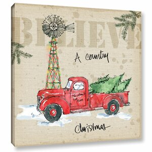 Country Christmas Painting Print on Wrapped Canvas