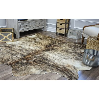 Millwood Pines Sarah Hand-Woven Cowhide Black/Beige Area Rug Rug Size: 6' x 8'