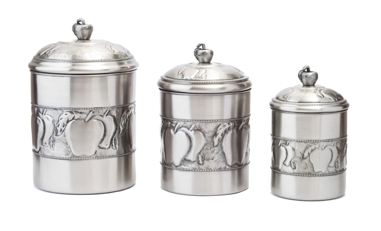 Old dutch 3 piece kitchen canister set reviews wayfair for Kitchen set name