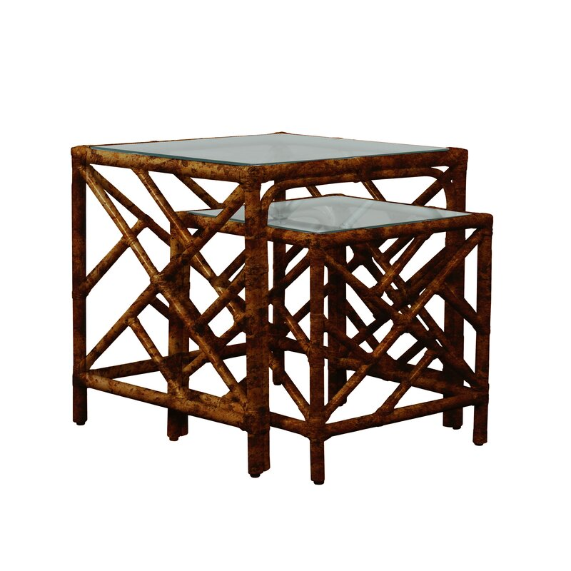 David Francis Furniture Chippendale 2 Piece Nesting Table