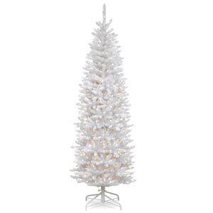 Kingswood Hinged Pencil White Fir Artificial Christmas Tree with Clear Lights with Stand