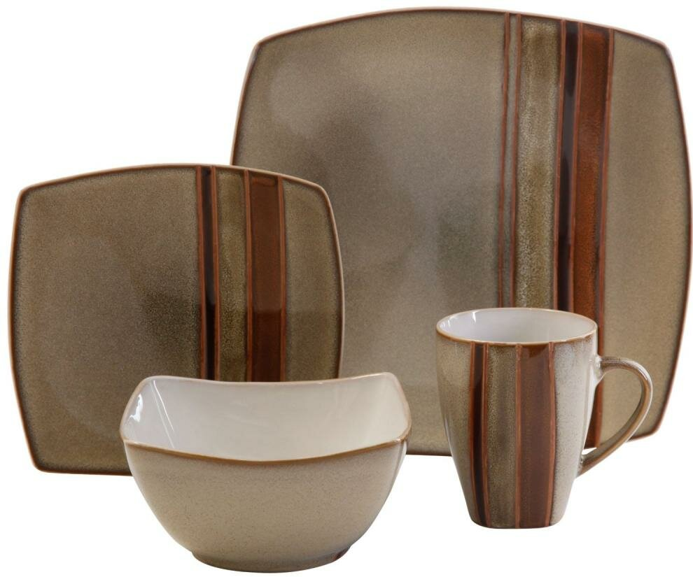 ABCHomeCollection Gibson Elite 16 Piece Dinnerware Set, Service for ...