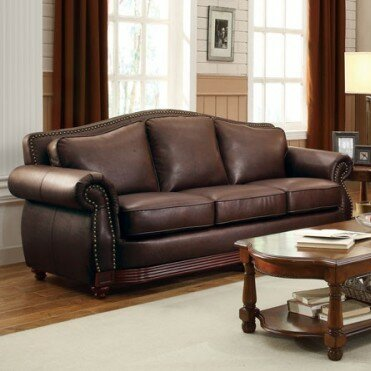 Merveilleux Leather And Wood Sofa | Wayfair
