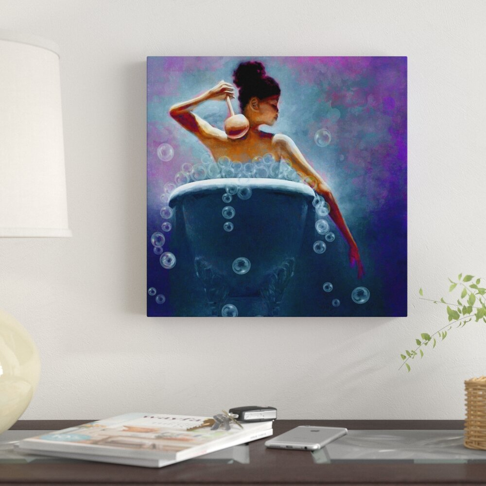 Ebony bubbles woman bathroom african american graphic art print on canvas