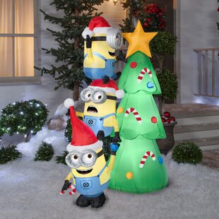 minions decorating tree scene inflatable by the holiday aisle - Cheap Inflatable Christmas Decorations