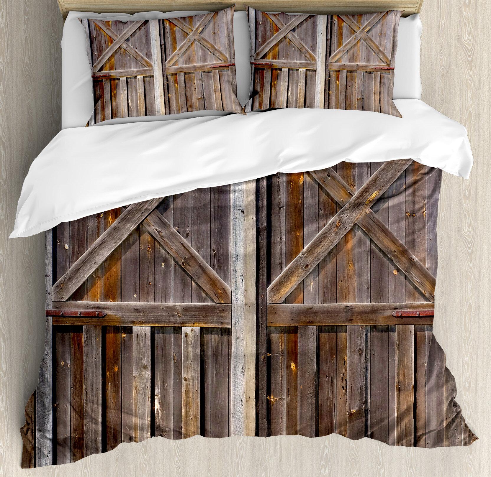 Ambesonne Rustic Old Wooden Barn Door Of Farmhouse Duvet Cover Set | Wayfair