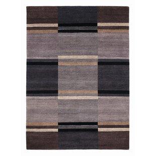 Berlin Handmade Wool Grey/Black Rug by Red Barrel Studio