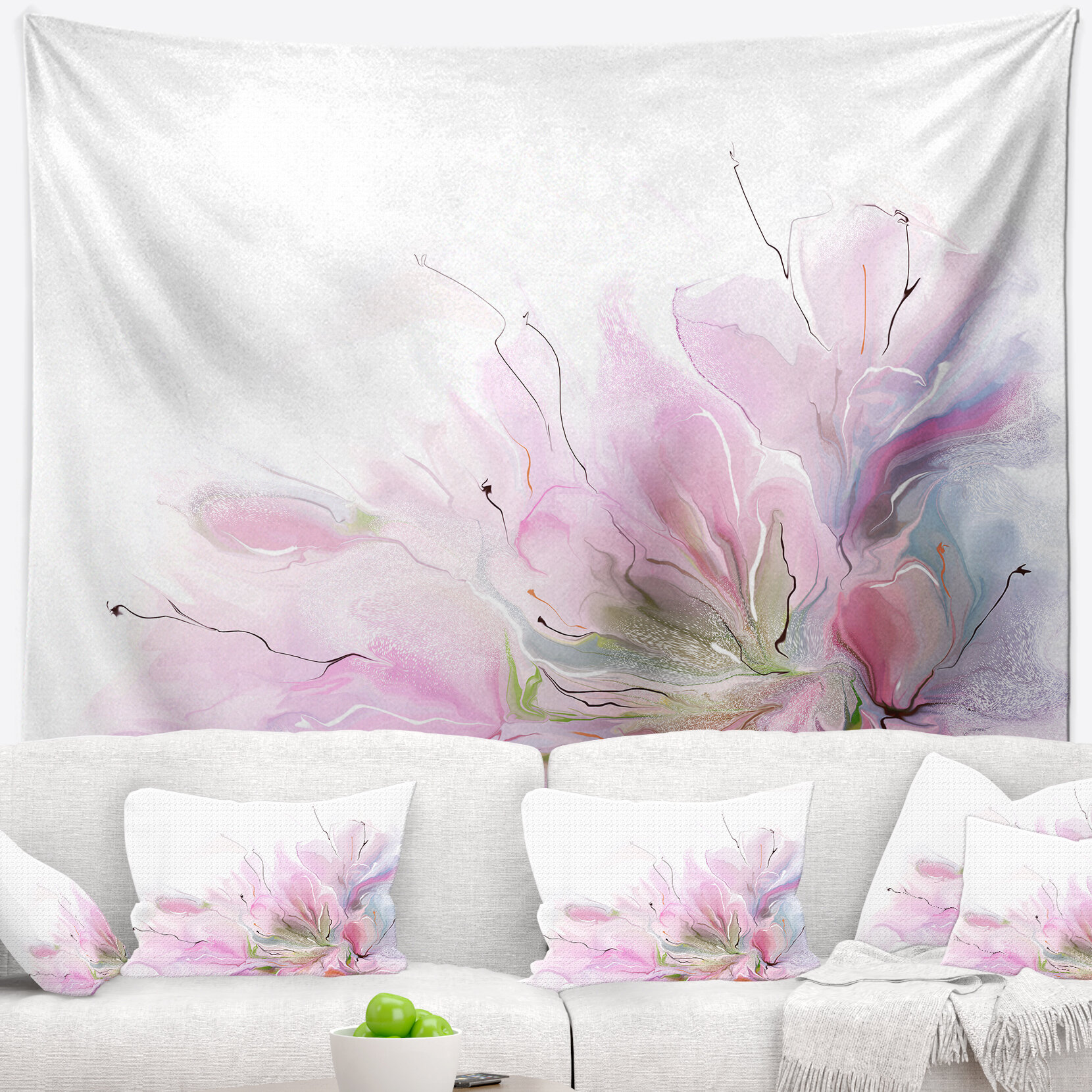 East Urban Home Abstract Floral Lovely Pink Flowers Tapestry Wayfair