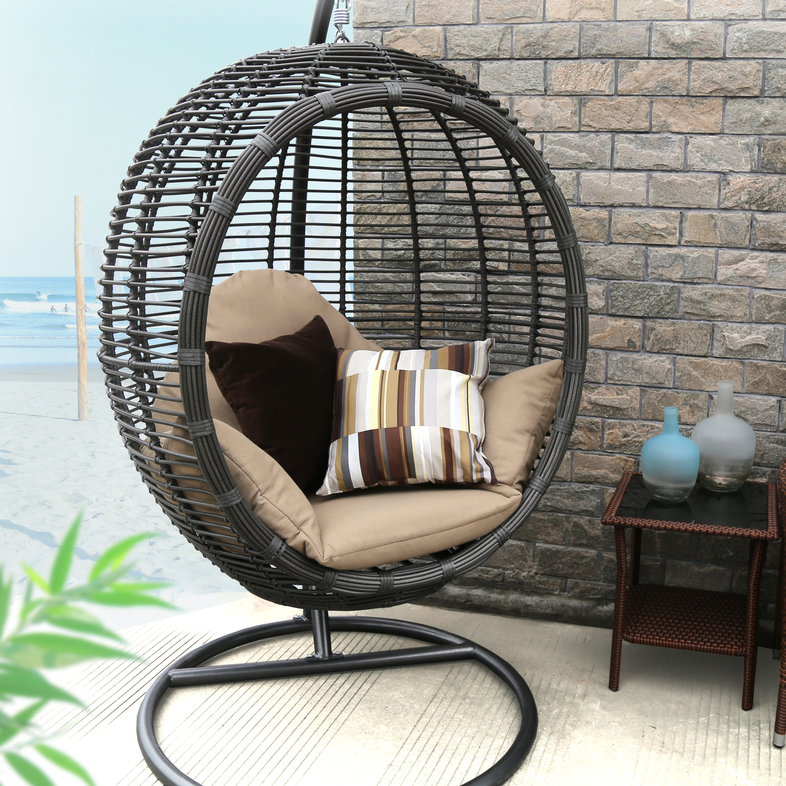 Baner Garden Swing Chair With Stand Amp Reviews Wayfair
