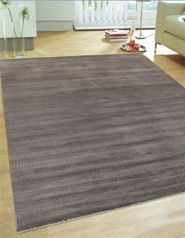 Hand Knotted Wool And Rayon From Bamboo Silk Black Area Rug