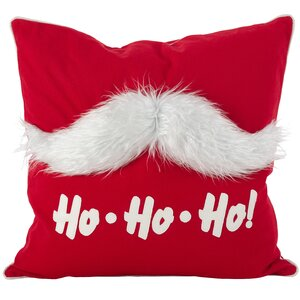 Merry Mustache Santa Claus Holiday Christmas Cotton Throw Pillow