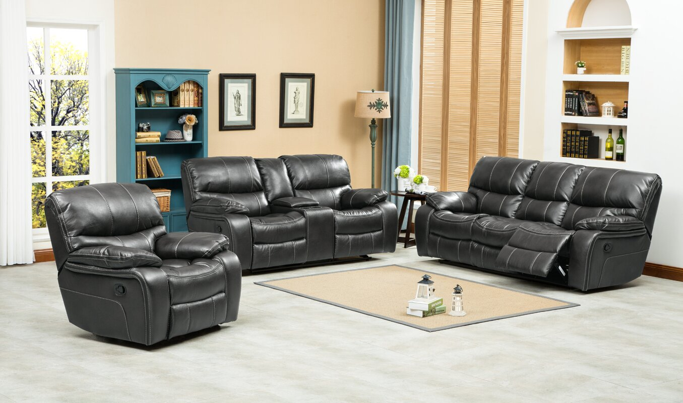 Roundhill Furniture Ewa 3 Piece Leather Living Room Set Reviews
