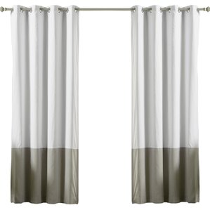 color block cotton blend striped blackout thermal grommet curtain panels set of 2