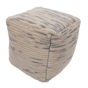 Red Barrel Studio Andrews Textural Wool and Cotton Pouf Ottoman